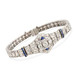 C. 1980 Vintage 3.00 ct. t.w. Diamond and .40 ct. t.w. Synthetic Sapphire Bracelet in Platinum, , default