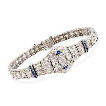 "C. 1980 Vintage 3.00 ct. t.w. Diamond and .40 ct. t.w. Synthetic Sapphire Bracelet in Platinum. 7"", , default"