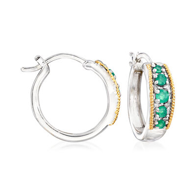 .40 ct. t.w. Emerald and Diamond-Accented Hoop Earrings in Sterling Silver with 14kt Yellow Gold, , default