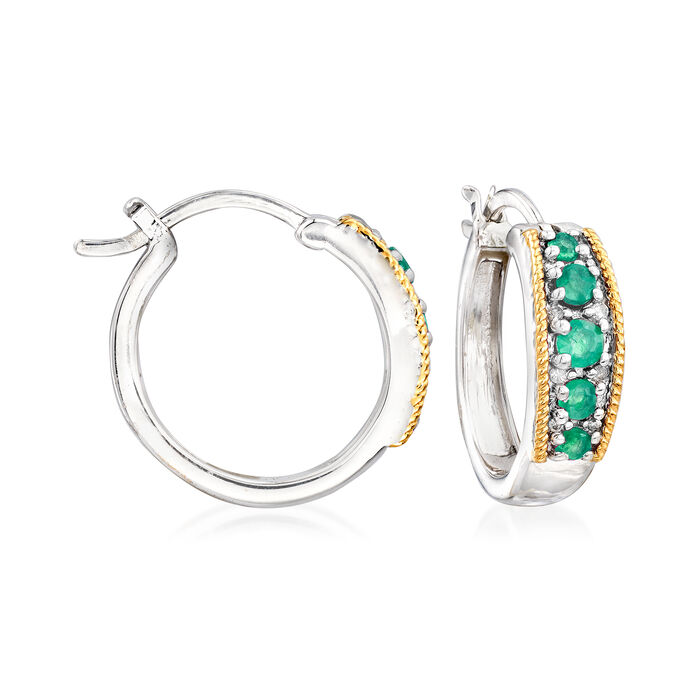 """.40 ct. t.w. Emerald and Diamond-Accented Hoop Earrings in Sterling Silver with 14kt Yellow Gold. 3/4"""", , default"""