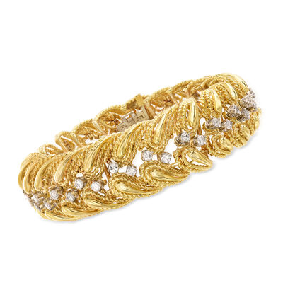 C. 1980 Vintage 3.20 ct. t.w. Diamond Bracelet in 18kt Yellow Gold
