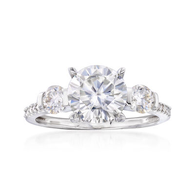 2.30 ct. t.w. Synthetic Moissanite Three-Stone Engagement Ring with .15 ct. t.w. Diamonds in 14kt White Gold, , default