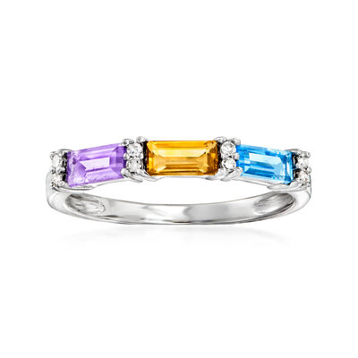 .65 ct. t.w. Multi-Gemstone Ring with Diamond Accents in 14kt White Gold