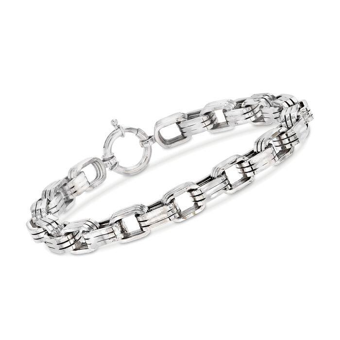 """Men's 8mm Sterling Silver Oval-Link Bracelet. 9"""""""