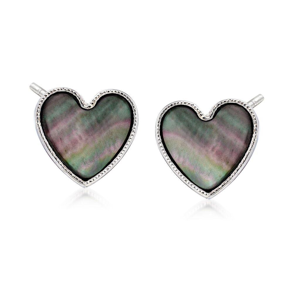 Italian Black Mother Of Pearl Heart Stud Earrings In Sterling Silver Default