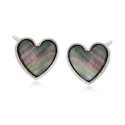 Italian Black Mother-Of-Pearl Heart Stud Earrings in Sterling Silver, , default