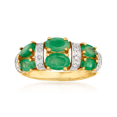 1.80 ct. t.w. Emerald and .10 ct. t.w. Diamond Ring in 14kt Yellow Gold
