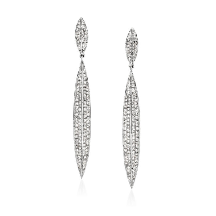 .78 ct. t.w. Diamond Linear Drop Earrings in 18kt White Gold, , default