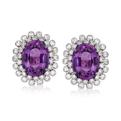 C. 1980 Vintage 20.00 ct. t.w. Amethyst and 3.60 ct. t.w. Diamond Earrings in 14kt White Gold
