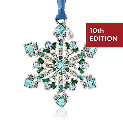 Ross-Simons 2019 Annual Multicolored Crystal Christmas Jewels Snowflake Ornament in Silverplate - 10th Edition, , default