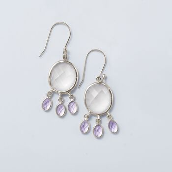 Rose Quartz and 4.50 ct. t.w. Amethyst Drop Earrings in Sterling Silver , , default
