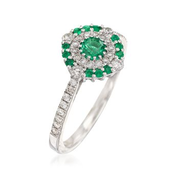 Gregg Ruth .30 ct. t.w. Emerald and .33 ct. t.w. Diamond Ring in 18kt White Gold