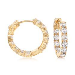 "5.00 ct. t.w. CZ Inside-Outside Hoop Earrings in 14kt Gold Over Sterling. 7/8"", , default"