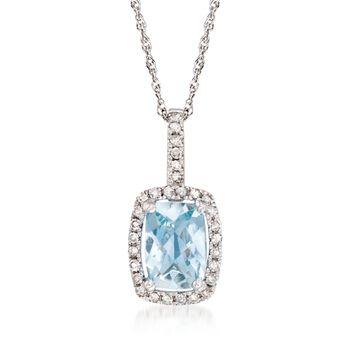 ".70 Carat Aquamarine and .13 ct. t.w. Diamond Pendant Necklace in 14kt White Gold. 18"", , default"