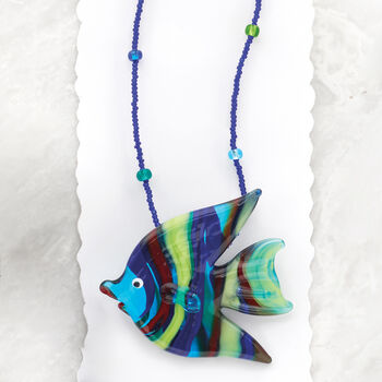 Italian Multicolored Murano Glass Fish Necklace with Sterling Silver. 18""