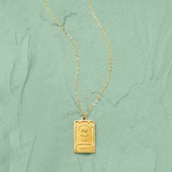 Italian 24kt Yellow Gold and 14kt Yellow Gold Ingot Bar Pendant Necklace , , default