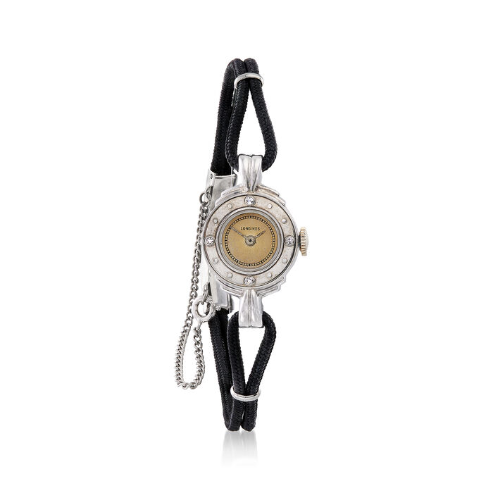 C. 1950 Vintage WomenS 15mm Mechanical Watch with Diamond Accents in 14kt White Gold. Size 7, , default