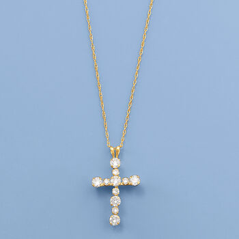 """.75 ct. t.w. CZ Cross Pendant Necklace in 14kt Yellow Gold. 20"""", , default"""