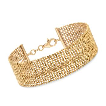 "Italian 18kt Yellow Gold Over Sterling Silver Multi-Strand Bead Chain Bracelet. 7.5"", , default"