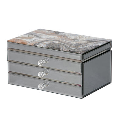 "Mele & Co. ""Maxine"" Marbled Glass Metallic Jewelry Box"
