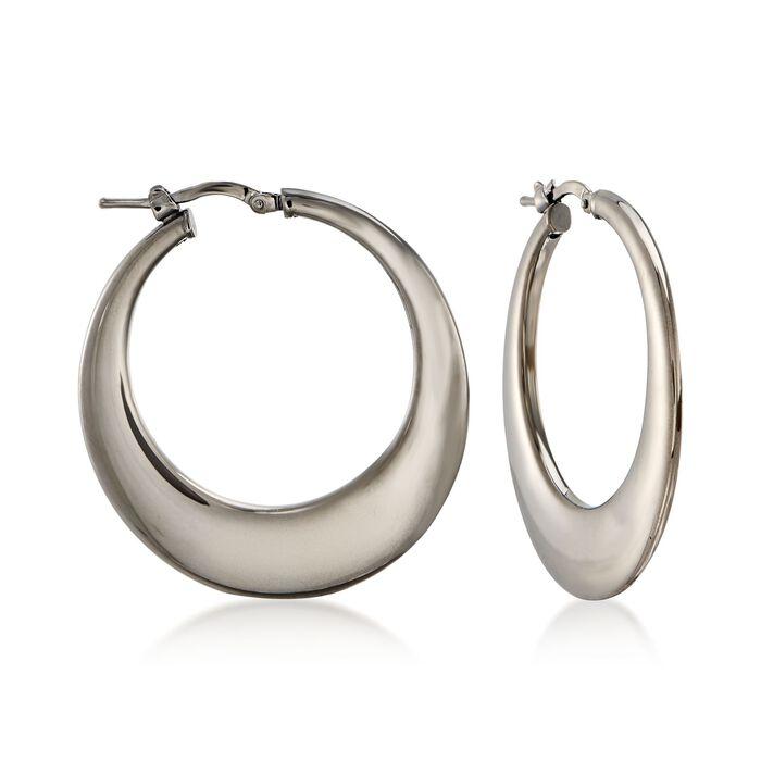 "Italian Gunmetal Sterling Silver Hoop Earrings. 1 3/8"""