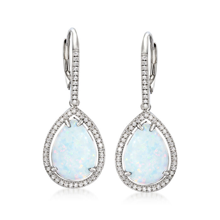 Charles Garnier Simulated Opal and .90 ct. t.w. CZ Drop Earrings in Sterling Silver