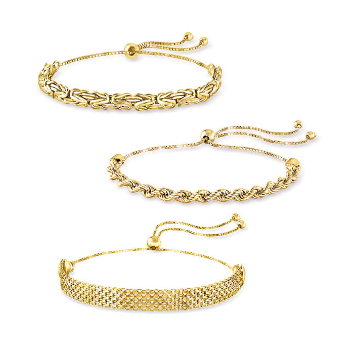 18kt Gold Over Sterling Jewelry Set: Three Multi-Link Bolo Bracelets