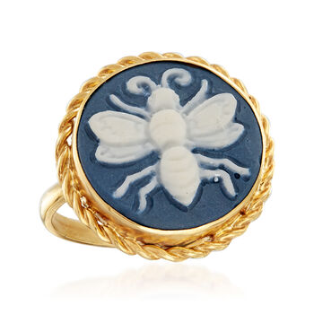 Porcelain Cameo Bee Ring in 18kt Gold Over Sterling