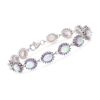 """Simulated Opal and Simulated Amethyst Bracelet Necklace in Sterling Silver. 7.5"""", , default"""