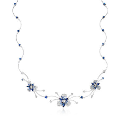 C. 1990 Vintage Stefan Hafner 3.13 ct. t.w. Sapphire and 1.23 ct. t.w. Diamond Flower Necklace in 18kt White Gold, , default