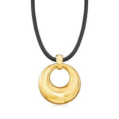 Italian Andiamo 14kt Yellow Gold Pendant Necklace with Leather Cord