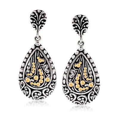 Sterling Silver Bali-Style Teardrop Earrings with 14kt Yellow Gold