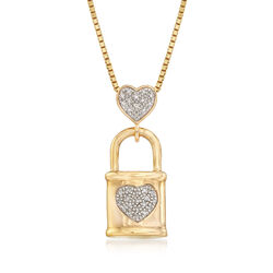 .10 ct. t.w. Pave Diamond Heart and Lock Pendant in 18kt Gold Over Sterling, , default