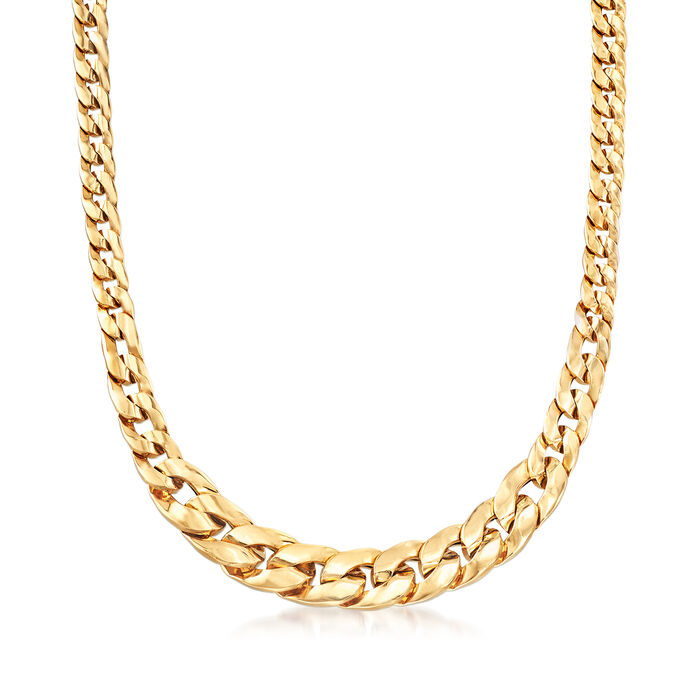 """Italian 18kt Yellow Gold Graduated Curb-Link Necklace. 20"""", , default"""