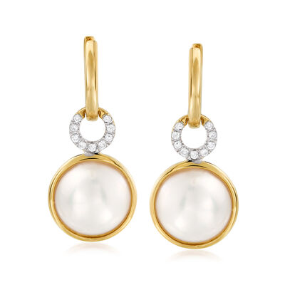 11mm Cultured Mabe Pearl and .12 ct. t.w. Diamond Hoop Drop Earrings in 14kt Yellow Gold, , default