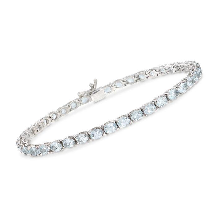 "7.00 ct. t.w. Aquamarine Tennis Bracelet in Sterling Silver. 7"", , default"