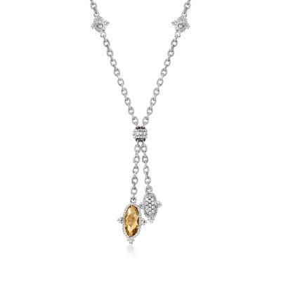 C. 1980 Vintage 2.30 Carat Citrine and .25 ct. t.w. Diamond Y-Necklace in 18kt White Gold