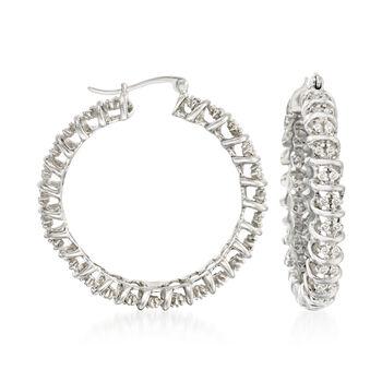 "1.00 ct. t.w. Diamond Hoop Earrings in Sterling Silver. 1 3/8"", , default"