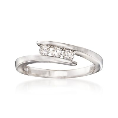 .24 ct. t.w. Diamond Three-Stone Bypass Ring in 14kt White Gold, , default