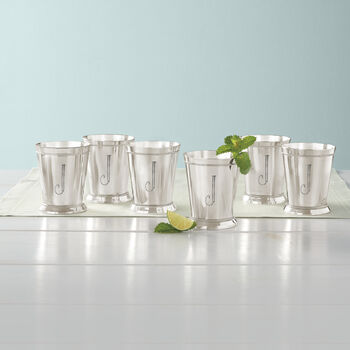 Set of 6 Silverplate Personalized Mint Julep Cups