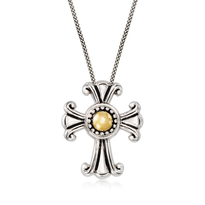 Cross Pendant Necklace in Sterling Silver and 18kt Yellow Gold, , default