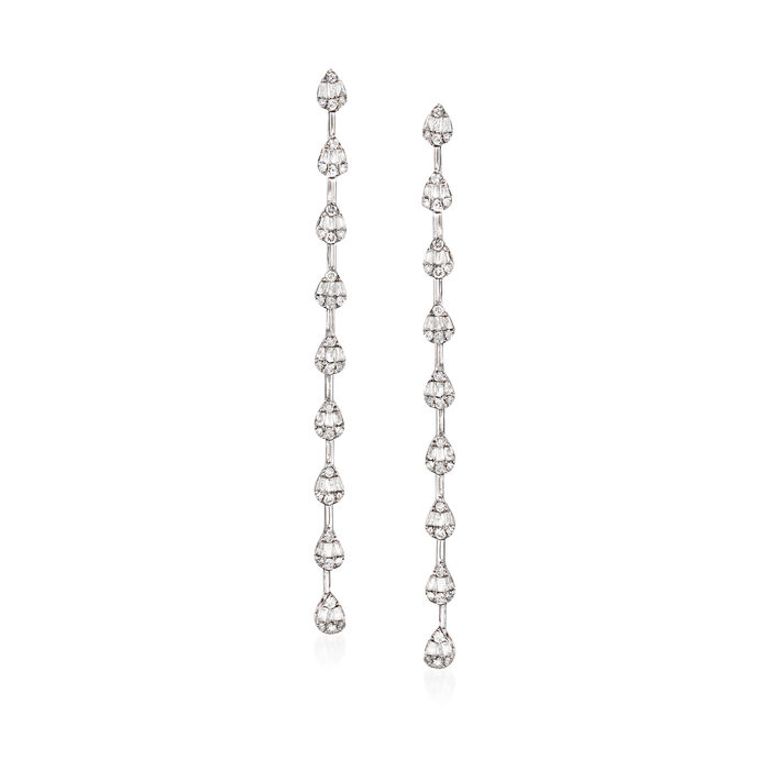 1.05 ct. t.w. Baguette and Round Diamond Linear Drop Earrings in 14kt White Gold