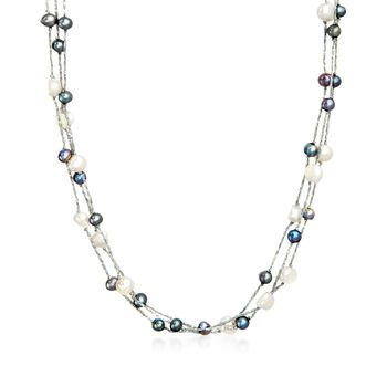 """5-9mm Black and White Cultured Pearl Three-Strand Station Necklace With Sterling Silver. 36"""", , default"""