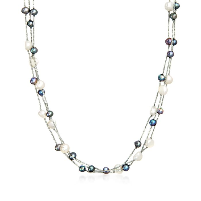 "5-9mm Black and White Cultured Pearl Three-Strand Station Necklace with Sterling Silver. 36"", , default"
