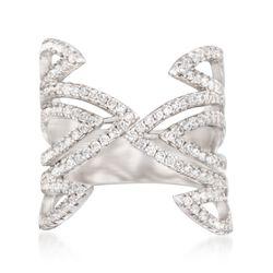 .70 ct. t.w. CZ Open Geometric Ring in Sterling Silver, , default