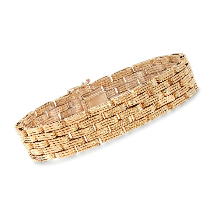 18kt Yellow Gold Over Sterling Silver Textured Multi-Row Link Bracelet, , default