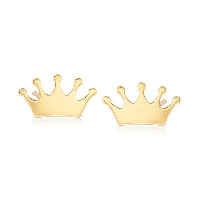 14kt Yellow Gold Crown Stud Earrings