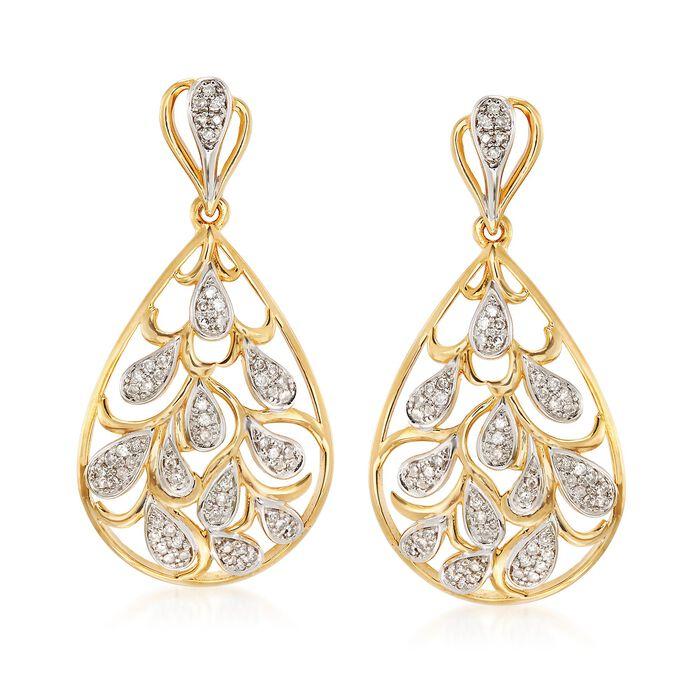 .33 ct. t.w. Diamond Teardrop Earrings in 18kt Yellow Gold Over Sterling Silver