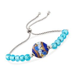 Italian Blue Murano Glass Bead Bolo Bracelet in Sterling Silver, , default