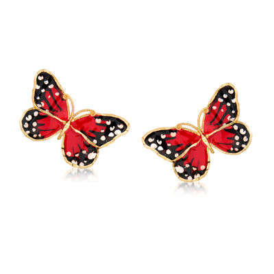 Italian Multicolored Enamel Butterfly Stud Earrings in 18kt Yellow Gold